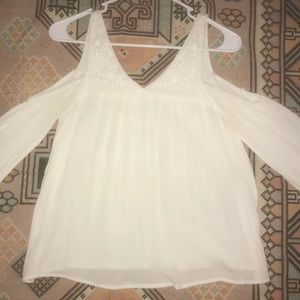 Small white boho, cold-shoulder blouse